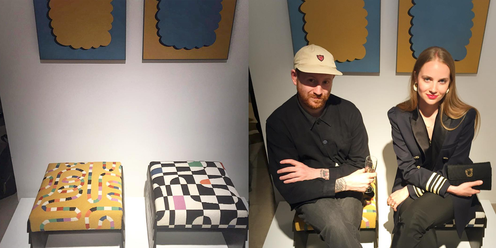 Stools, with and without Rhys and Petra, at David Gill Gallery