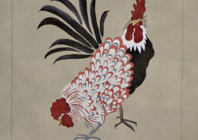 Coq et Poule en Rouge et Blanc
